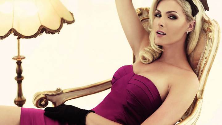 Ana Hickmann Sitting In Dark Pink Dress Photoshoot