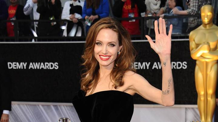 Angelina Jolie Saying Hii In Black Dress At DEMY Awards