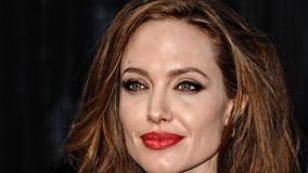 Angelina Jolie Smiling In Red Lips Cute Face Closeup