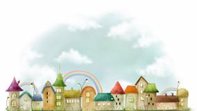 Artistic City And Rainbow Over The Houses