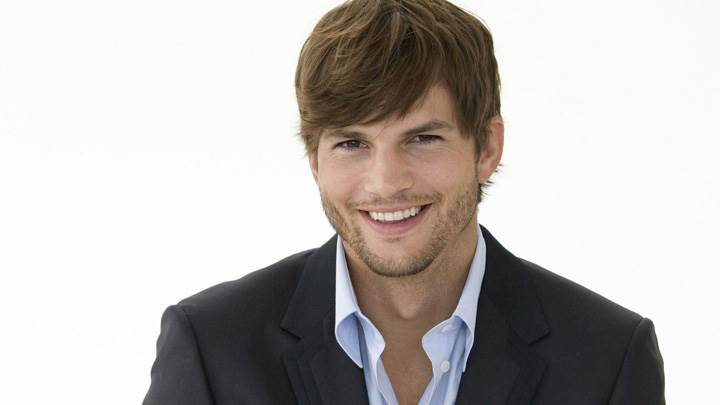 Ashton Kutcher Sweet Laughing Face In Black Coat