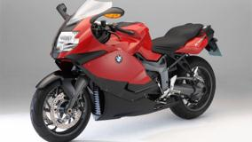 BMW K1300S Side Front Pose In Red