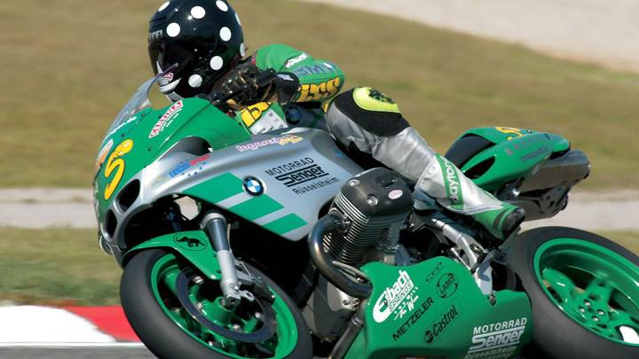 BMW R1100S In Green Riding On Racing Course