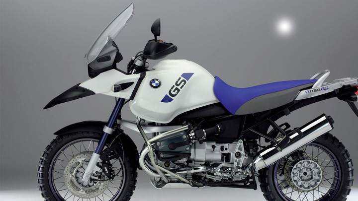 BMW R1150GS Adventure In White N Blue Side Pose