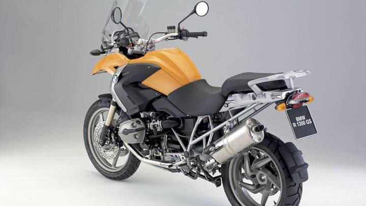 BMW R1200 GS In Yellow Side Back Pose