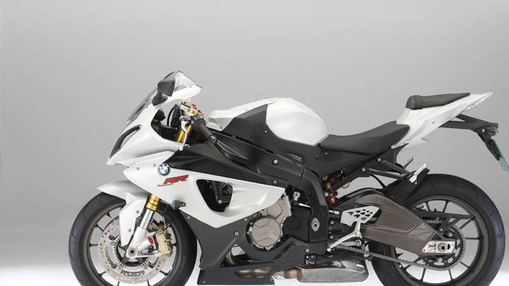 BMW S1000RR Side Pose In White