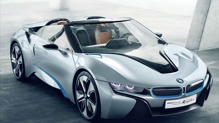 Bmw I8 Spyder Concept Car In Silver Front Pose Wallpaper