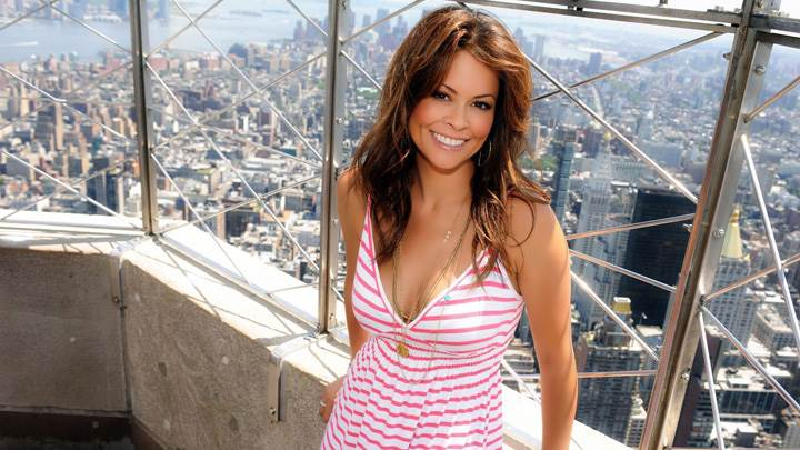 Brooke Burke On Roof In Pink Strip Dress
