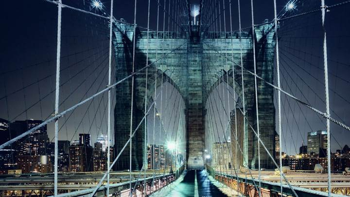 Brooklyn Bridge Walkway Showing In Evening