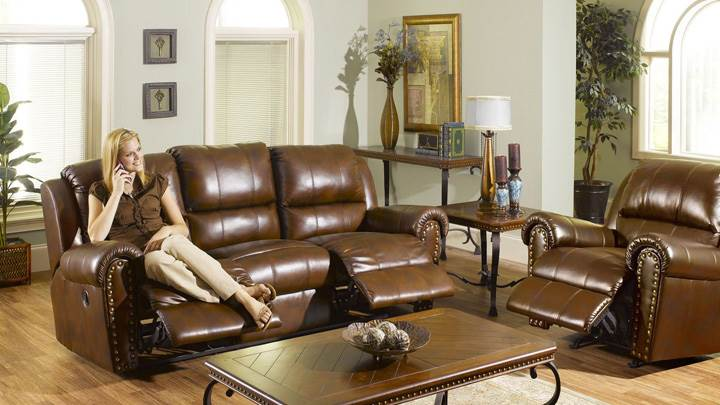 Brown Sofa Set For Rest in Room