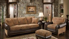 Brown Sofa Set in Resting Room And Stones Wall