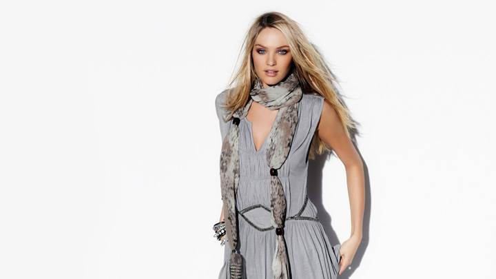 Candice Swanepoel In Grey Dress Modeling Pose