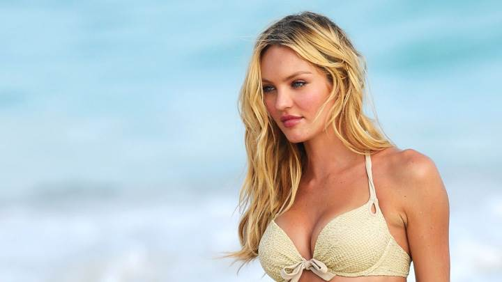 Candice Swanepoel In White Bikini Looking Side