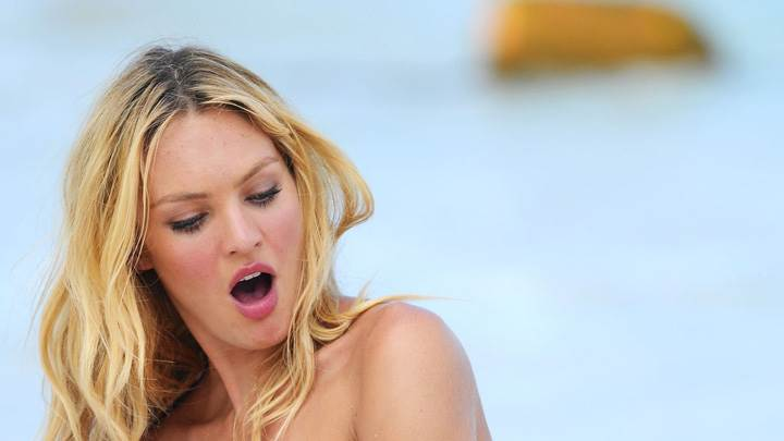 Candice Swanepoel Open Mouth Pink Lips Photoshoot