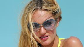 Candice Swanepoel Wet Pink Lips Face Closeup