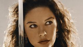 Catherine Zeta-Jones with Sword Looking Side Face Closeup