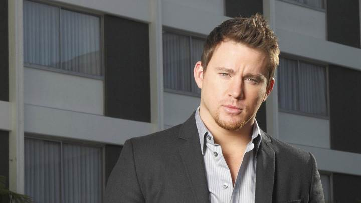 Channing Tatum In Black Coat And Grey Shirt