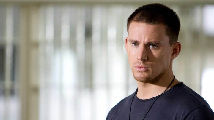 Channing Tatum In Blue T-Shirt Looking At Camera