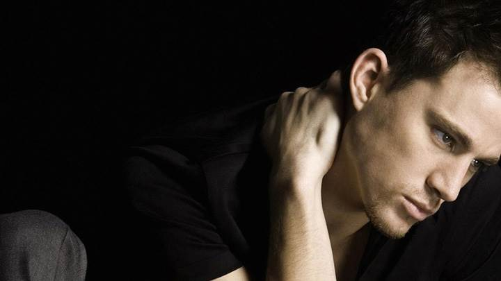 Channing Tatum Sitting In Black T-Shirt And Black Background