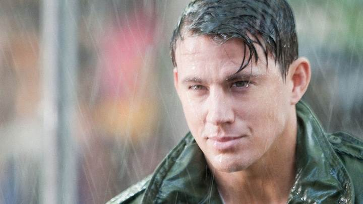 Channing Tatum Smiling In Rain Photoshoot