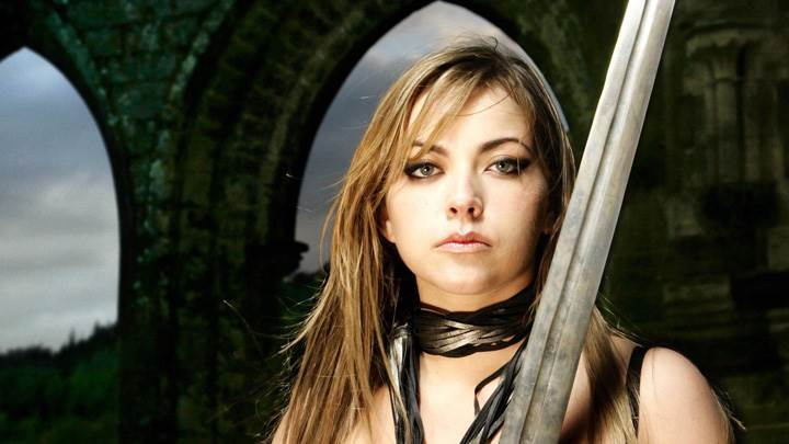 Charlotte Church Looking Front With Sword Photoshoot