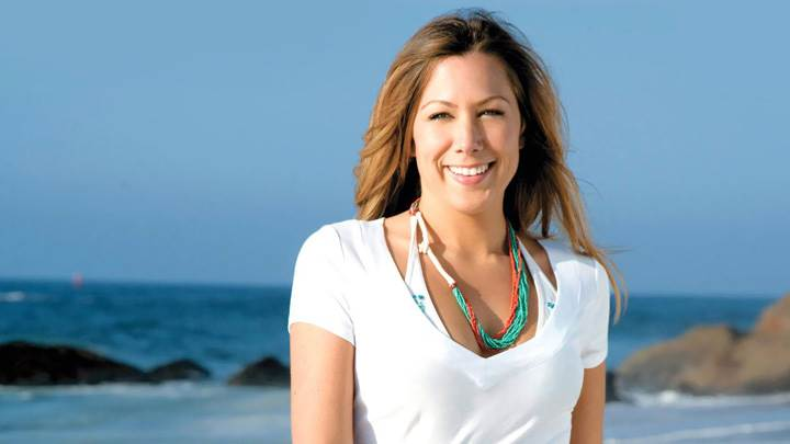 Colbie Caillat Smiling Near Sea In White Dress