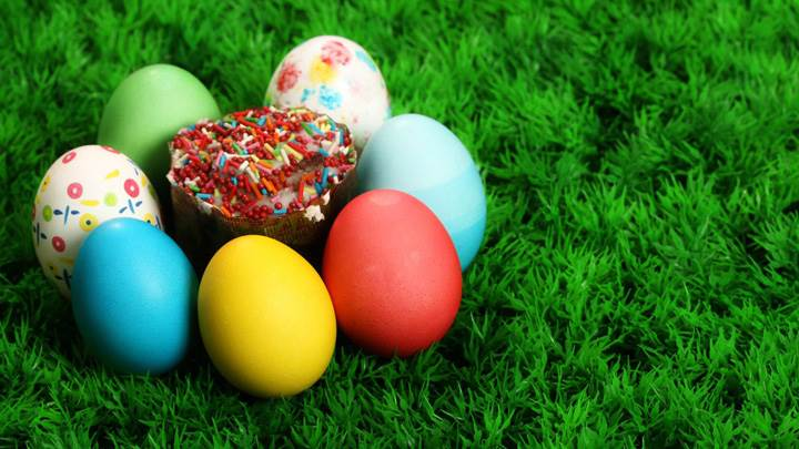 Colorful Eggs Around The Sweet Candy On Grass