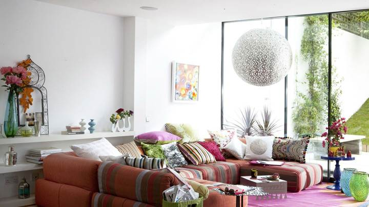 Colorful Sofa Set And Colorful Pillow in Room