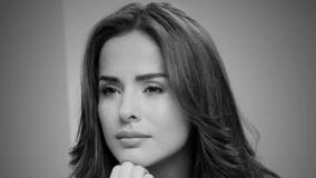 Cute Face Closeup Of Danna Garcia In Black N White Photo