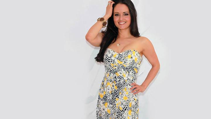 Danica Mckellar Smiling In White Dotted Dress
