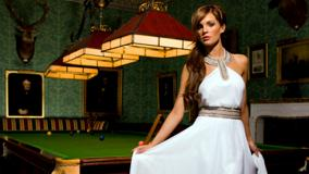 Danielle Lloyd Near Pool Table In White Dress
