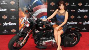 Debby Ryan Sitting Pose On Bike At Event