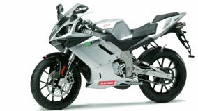 Derbi GPR 125 Racing In Silver Side Pose And White Backgound