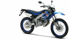 Derbi Senda Racer In Shine Blue Side Pose