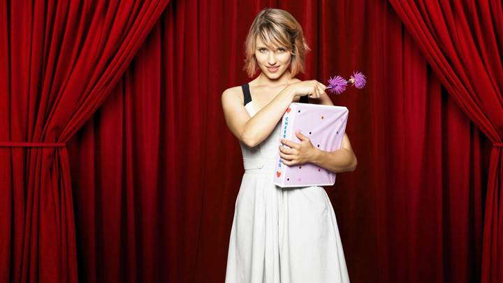 Dianna Agron In Theatre In White Dress With Pink Flower