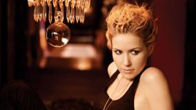 Dido Looking Side In Black Dress Photoshoot With Crystal Chandelier