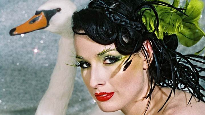 Dita Von Teese Looking At Camera Side Pose Photoshoot