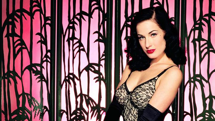 Dita Von Teese Red Lips In Black Dress Photoshoot