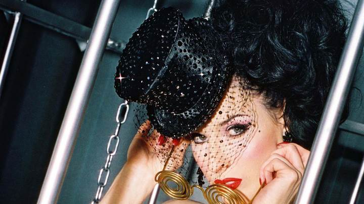 Dita Von Teese Wearing Hat N Red Lips Face Photoshoot
