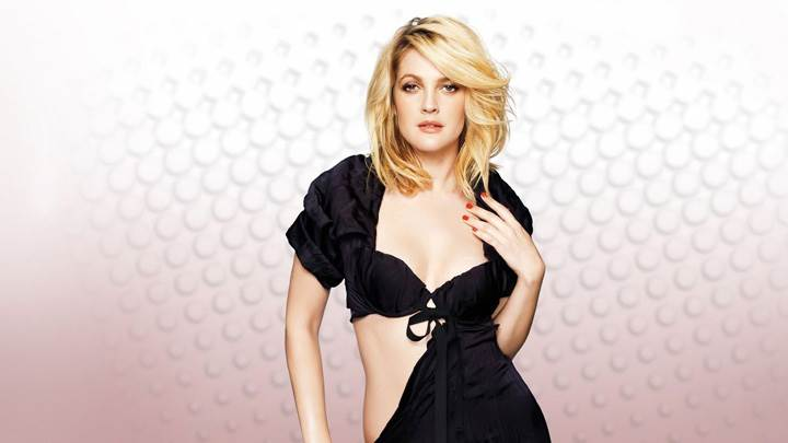 Drew Barrymore Modeling Pose In Black Dress