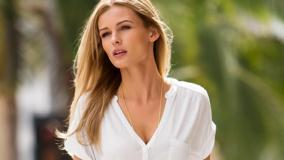 Edita Vilkeviciute In White Dress Looking Somewhere