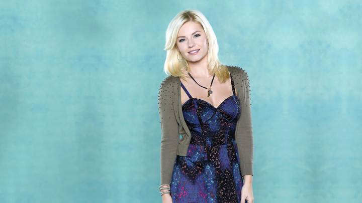 Elisha Cuthbert Smiling In Blue Dress And Blue Background