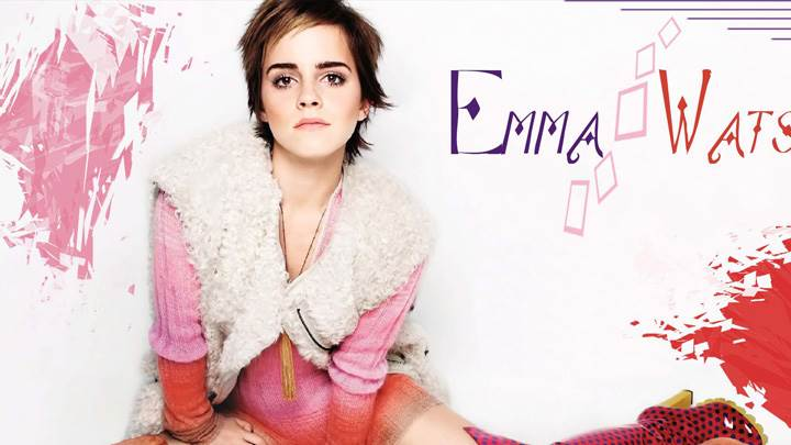 Emma Watson Sitting Pose N Artistic Background
