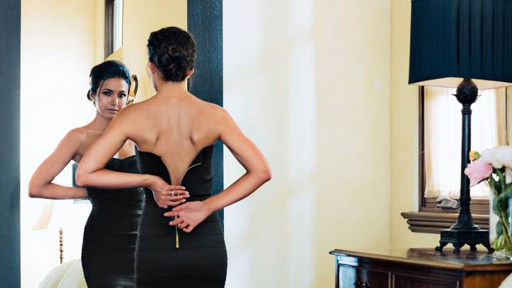 Emmanuelle Chriqui Front Of Miror In Black Dress