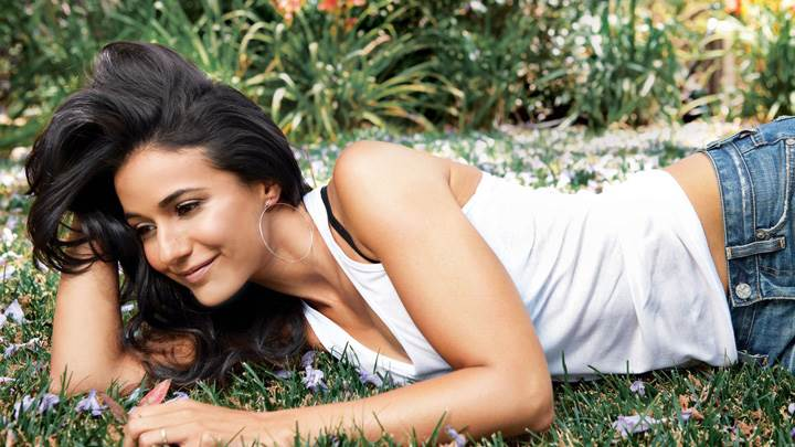 Emmanuelle Chriqui Smiling In White Top N Blue Jeans