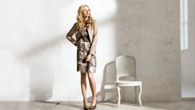 Eva Padberg Modeling Pose In Brown Dress