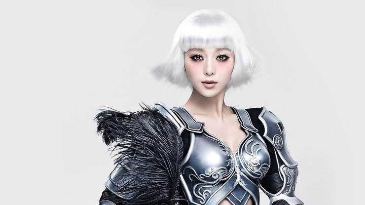 Fan Bingbing Looking At Camera In White Hairs