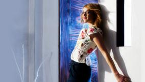 Fearne Cotton Standing With Wall In White Colorful Top
