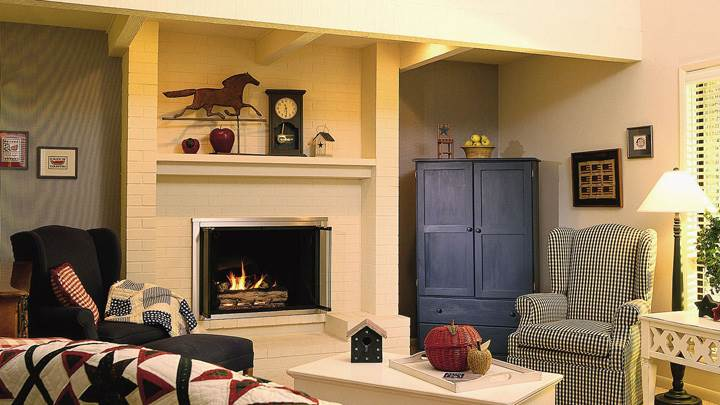 Fire Place in Room And Sofa Set