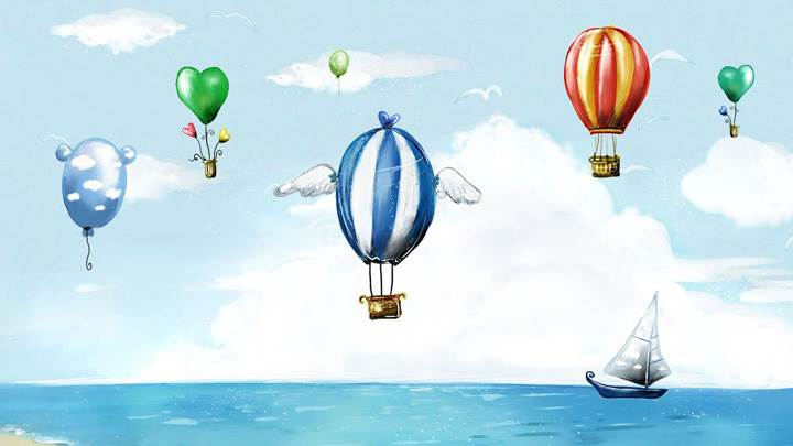 Flying Baloons Over The Blue Sea